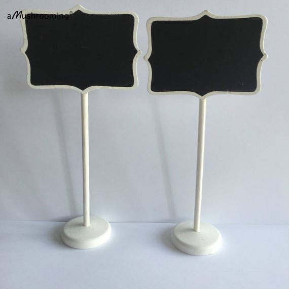 10 White Frame Blackboard Table Card Stands Place Holder Food