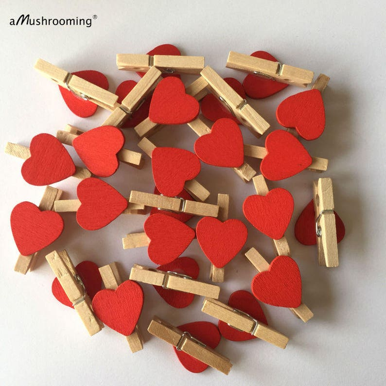 30mm Clothes Peg with 15mm Silver Wood Hearts For Shabby Chic Vintage Wedding