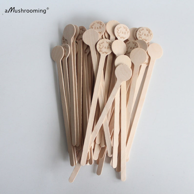 Personalize wreath design Initials Name Coffee Stirrer Beverage Bar Stick Drink Stirs Customized Wedding Party x100 Wood Drink Stirrers