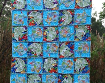 """Rag Quilt pattern Fish Quilt  instant download  PDF PATTERN-TUTORIAL  """"Just Keep Swimming""""  42 x 49 directions for any size!"""