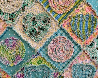 """Rag Quilt PATTERN-TUTORIAL """"Diamonds in the Rough"""" two sizes -  Lap Quilt or Med.Throw 45"""" X 56"""" & large throw size 57"""" x 67"""" Shredded Style"""