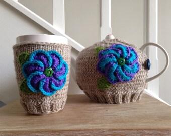 SALE - Bright Flower Tea Cosy + Mug Warmer