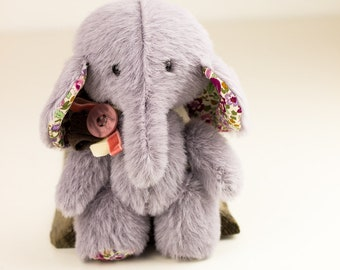 Toy gray plush Elephant mammoth animal stuff cute toy elephant faux fur elephant