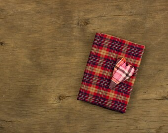 Small soft cover notebook a6 with stuffed heart decor. Red checkered journal. Fabric notebook cover. Womens gift handmade notebook