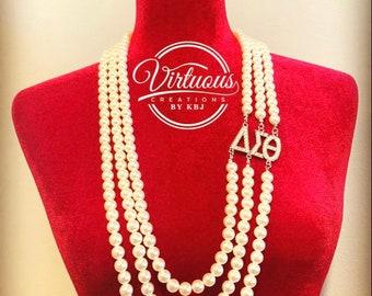 Delta Sigma Theta 3-strand Pearl Necklace