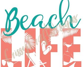 Beach Life SVG Cut File EPS JPG Summer Ocean Swimsuit Sunglasses Palm Tree Silhouette File
