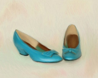 Teal Blue Bow Pumps - Giclee Print of a digital painting by Anita Drieseberg
