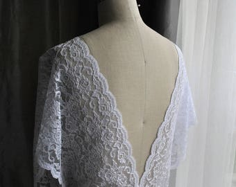 """Made in USA Scalloped Wide White Bridal Embroidered  LACE, 9 1/4"""" wide/ Scalloped edge lace/ Gown/ Couture bridal/Wide Lace/White Wide lace"""