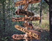 Hanging Cedar Directional Sign Post (personalized with 7-16 signs)
