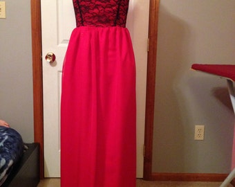 Red Satin with Black Lace Floor Length Dress