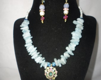 Aquamarine Fresh Water Pearl Enamel Pendant Necklace Set*******.