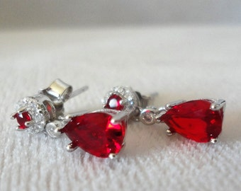 Flawless Gemdrop DiamondAura Earrings Ruby Red******