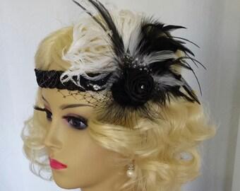 "GATSBY HEADPIECE With Headband or Birdcage Veil, Vintage Bridal Hair Accessory, Downtown Abby,  Feather Bridal Headpiece ""AMANDA"""