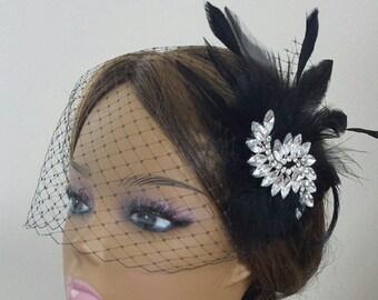"""BLACK HEADPIECE  Available With Headband or Birdcage Veil, Vintage Bridal Hair Accessory, Downtown Abby, Black Feather Headpiece """"SIMONE"""""""