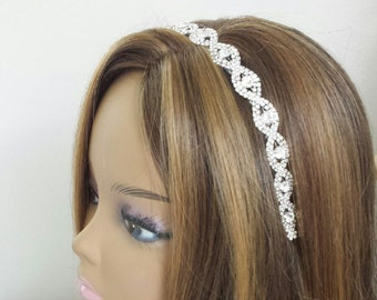 "Rhinestone Bridal Hair Accessory - ""DARICE"" -  On Satin Ribbon or Headband"