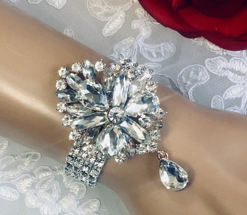 Corsage Creations Wide Pearl Corsage Bracelet Rose Gold Weddings Prom