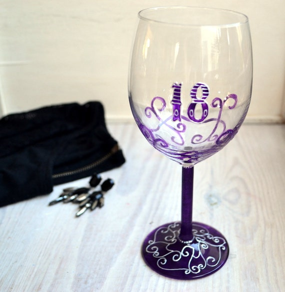 18th Birthday Gift Purple Wine Glasses Hand Painted