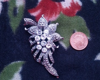 Silvertone and Rhinestone Flower Brooch