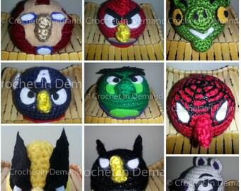 Crochet Superheroes vs Villains Angry Birds Inspired Plush Set of 9
