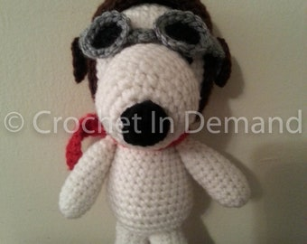 Peanuts Snoopy Flying Ace Inspired Crochet Doll/Figure/Plush