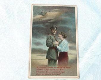 1914 -1918 german military Postcard, Military  Correspondence, first world war postcard,mustach soldier
