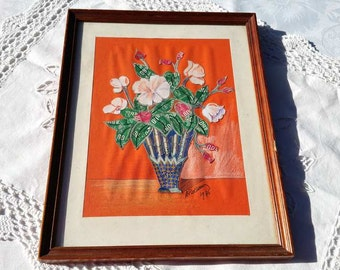 French vintage hand-made  postage stamps collage - framed  french bouquet in stamp collage, postage stamp art, floral stamp collage