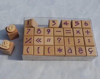 French vintage Vintage school Wooden Scrapbooking Alphabet 1950 French vintage letter rubber stamps