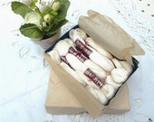 French vintage  DMC box   with 8 white  skeins cotton embroideries