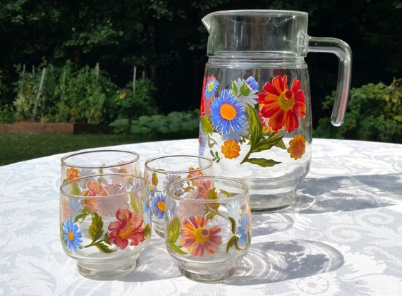 floral decor flowers decor floral pitcher set of 4 fruit juice glass French vintage pitcher and drinking glasses