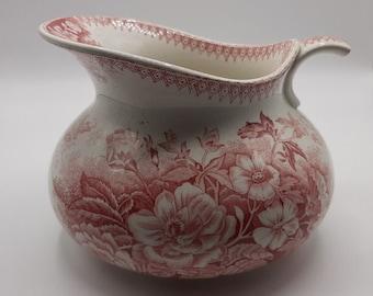 "Sarreguemines jug or water pitcher,  French antique  pitcher from Sarregumines ""Jardiniere U et C"" , pink floral decor"