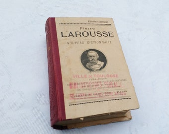 1910 Antique French Larousse dictionary, french vintage dictionary, french Larousse book