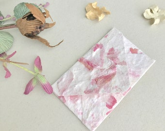 Flower pressed paper etsy gift card 20 pink garlic skin recycled handmade mulberry paper envelopes mightylinksfo