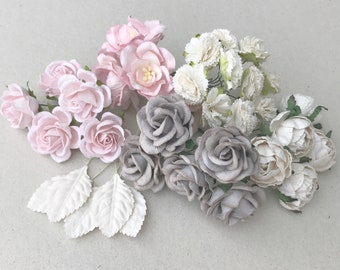 Grey paper flowers etsy 25pcs pink grey white mixed colors rose mulberry paper flowers embellishment diy mightylinksfo