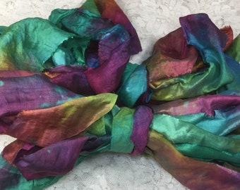 cord 5 yds hand dyed sari silk green blues fair trade trim kumihimo jewelry