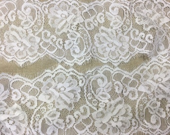 """lace galloon 4.25"""" wide hand dyed bridal white sold by yard great adirondack wedding lace trim"""