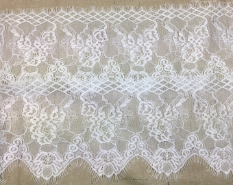 """lace galloon 5"""" wide hand dyed bridal white  sold by the yard great adirondack wedding lace trim"""