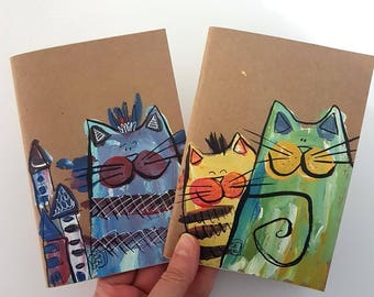 Kraft Notebook, Set of 2, Cats Notebook, Notebook, 4x6 notepad, Whimsical Notebooks, Painted Notebooks, Original Gifts