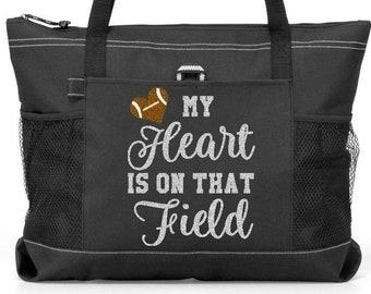 Totesntogs My Heart is on That Field Softball Solid or Glitter Lettering