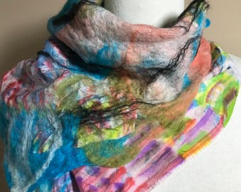 Hand painted silk nuno Felted Scarf