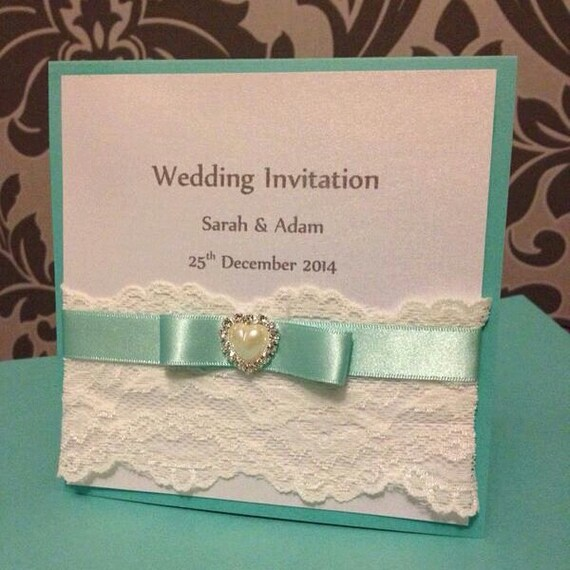 Tiffany Wedding Invitations: Items Similar To Tiffany Blue Wedding Invitation On Etsy