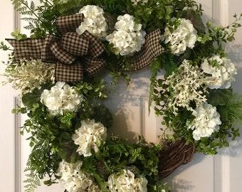 White Flower Wreath Etsy