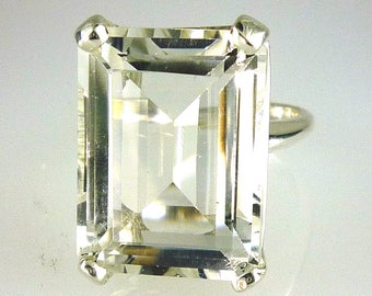 Natural White Quartz Very Large Brilliant Emerald Cut 20X15MM - 21.80 Carats .925 Sterling Silver