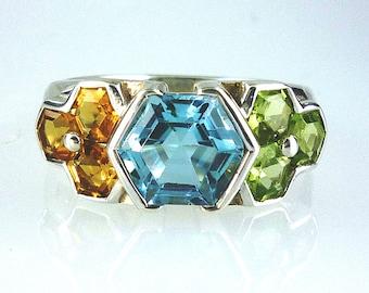 Natural Blue Topaz, Citrine & Peridot Hexagonal Cut stone Ring 925 Sterling Silver