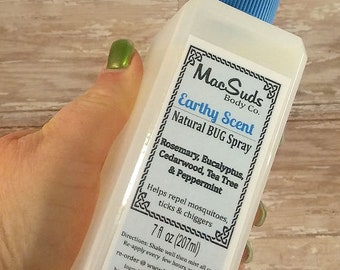 Natural Bug Spray, 7oz, Earthy Scent,  Bug Spray, Kid Safe, DEET Free Bug Spray, Insect Repellent, Natural Skin Care, Essential Oil