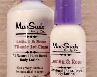 Lemon Lotion, Rose Lotion, body lotion,  body moisturizer, hand and body lotion, handmade lotion, paraben free lotion