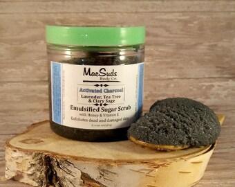 Charcoal Sugar Scrub, 8oz,  sugar scrub, skin care, facial, hand scrub, shower care, dry skin, spa product, acne scrub, body scrub