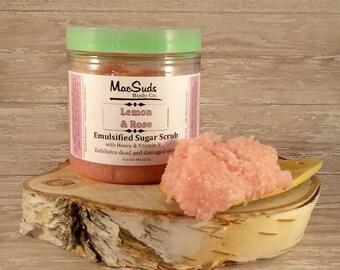 Lemon, Rose, sugar scrub, 8oz, skin treatment, skin care, skin care products, skin care luxury, sea salt, luxury skin care, luxury gifts