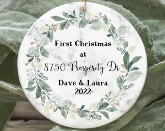New homeowners ornament, custom ornament for homeowner, marble greenery personalized ornament, Christmas ornament, housewarming gift ideas