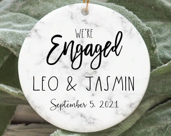Personalized engagement ornament, engraved Christmas ornament, marble greenery engagement ornament, pretty engagement gift