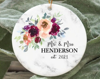 Our first Christmas as Mr and Mrs , Bridal shower gift, wedding gift, First Christmas Ornament, Newlywed Christmas Ornament floral ornament